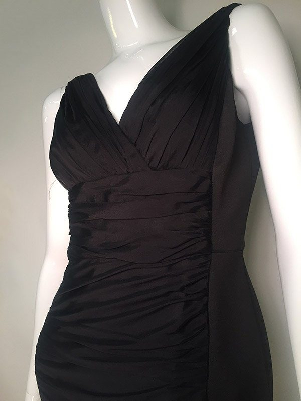 Carmen Marc Valvo Black V-Neck Midi Dress Close Up View