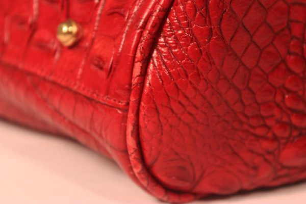 Brahmin Red Crocodile Embossed Leather Satchel Hand Bag Worn Piping View 1