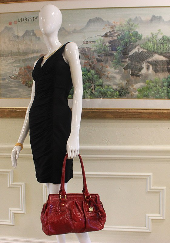 Brahmin Red Crocodile Embossed Leather Satchel Hand Bag Preview View 2