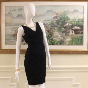 Carmen Marc Valvo Black V-Neck Midi Dress Preview View