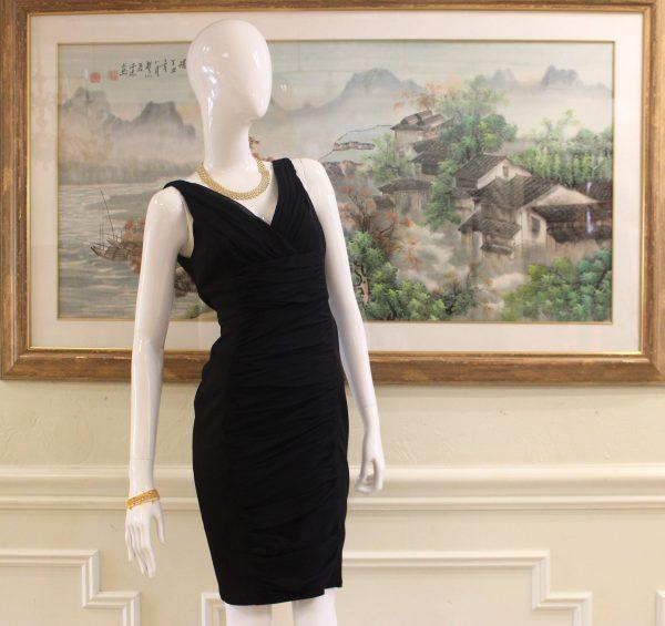 Carmen Marc Valvo Black V-Neck Midi Dress Preview View