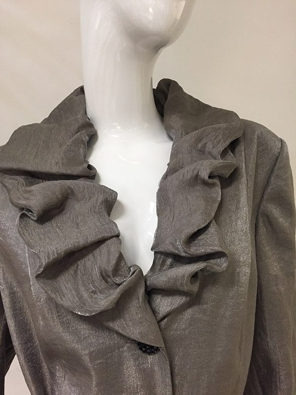 Adrianna Papell 3/4 Sleeve Evening Jacket Collar Front View