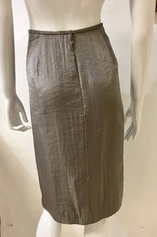 Adrianna Papell Metallic Taupe Pencil Skirt Back View