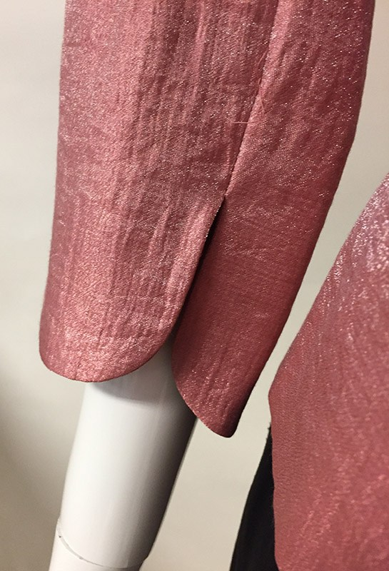 Adrianna Papell Metallic Rust 3/4 Sleeve Evening Jacket Sleeve Close Up View