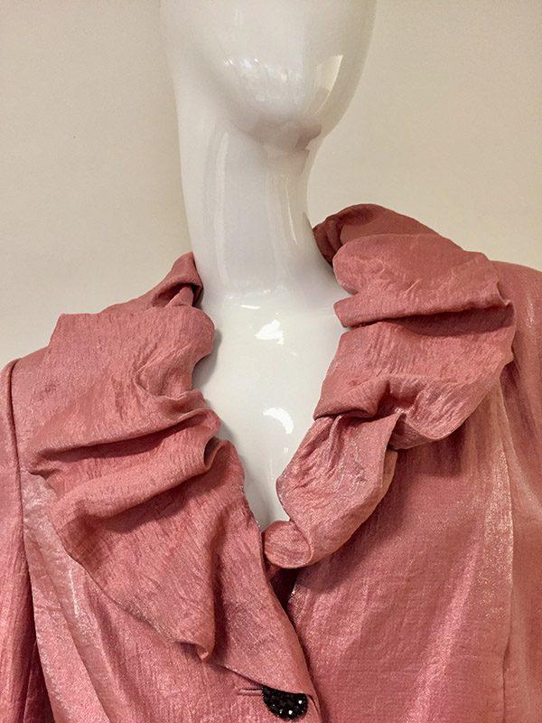 Adrianna Papell Metallic Rust 3/4 Sleeve Evening Jacket Collar Close Up View
