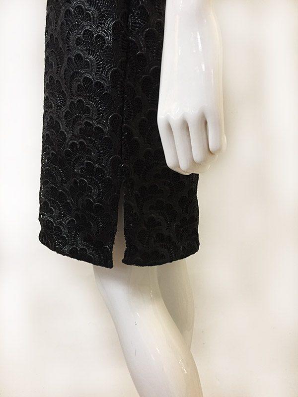 Josie Natori Lace Dress Side Slit Close Up View