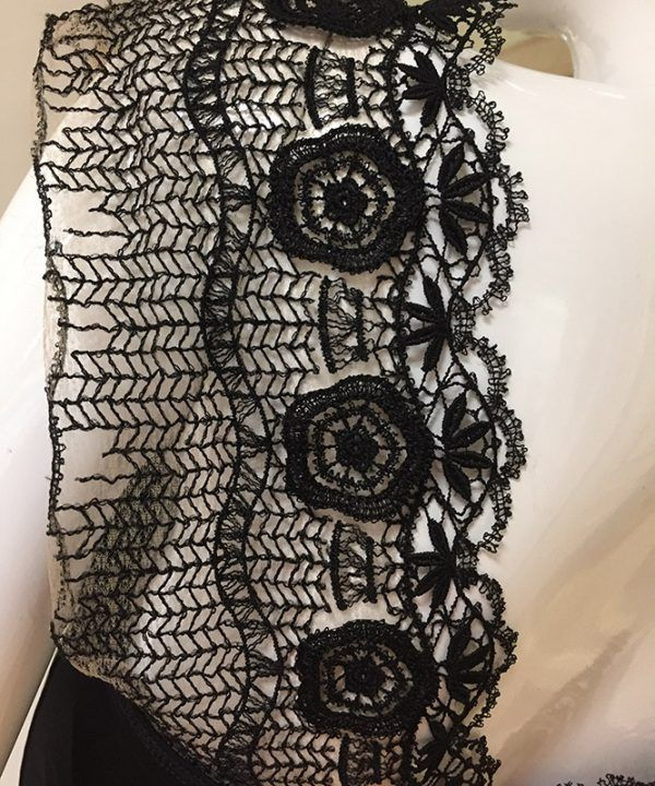 Barbara Lesser Fitted Dress Lace Close Up View