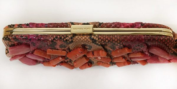 Michael Kors Python Print Clutch Top View