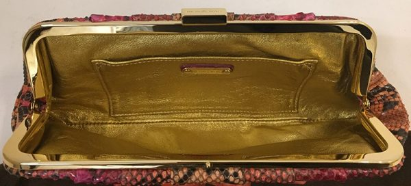 Michael Kors Python Print Clutch Interior View