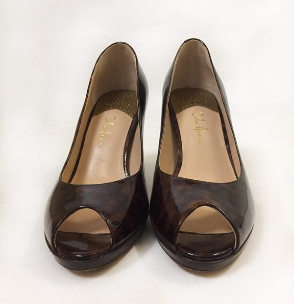 Cole Haan Tortoise Peep Toe Pumps Front View