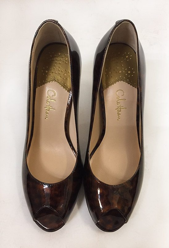 Cole Haan Tortoise Peep Toe Pumps Top View