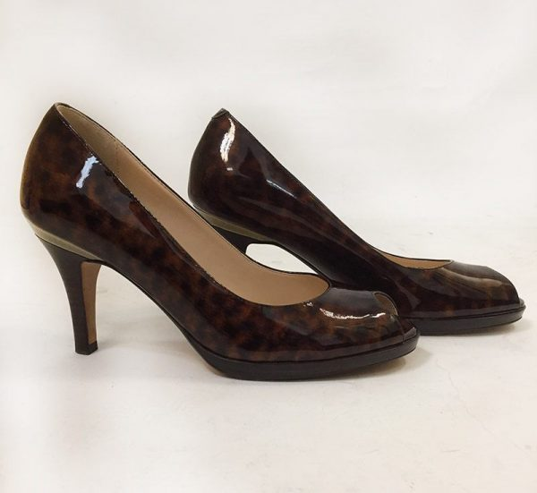 Cole Haan Tortoise Peep Toe Pumps Side View 2