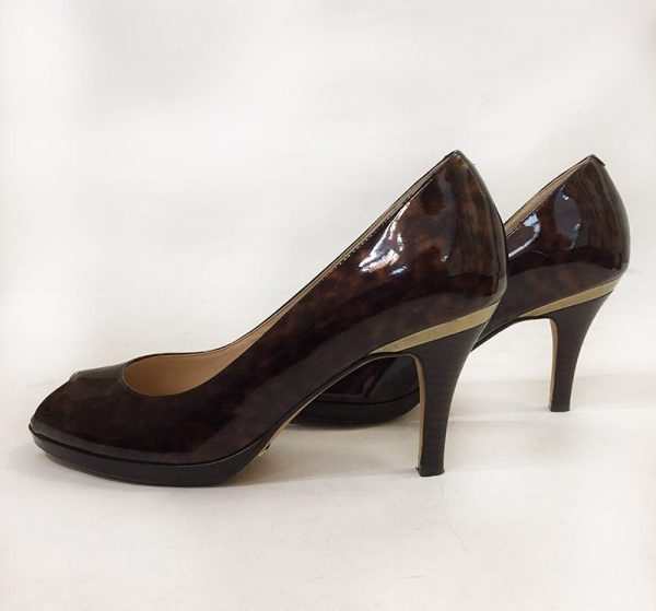 Cole Haan Tortoise Peep Toe Pumps Side View