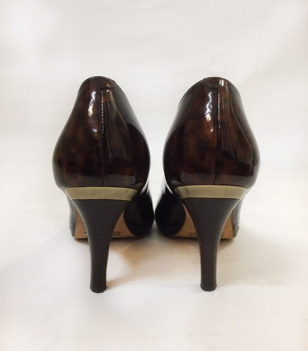 Cole Haan Tortoise Peep Toe Pumps Back View