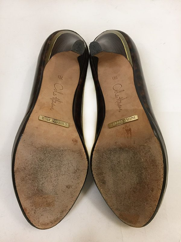Cole Haan Tortoise Peep Toe Pumps Bottom View
