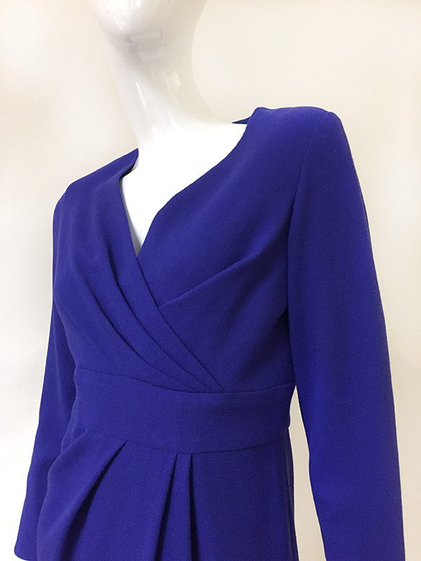 Carolina Herrera Mock Wrap Dress Close Up Bodice View 2