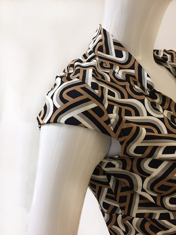 Trina Turk Geometric Print Dress Close Up Cap Sleeve View
