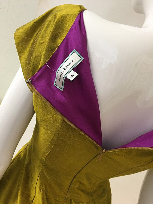 Pamela Barish Chartreuse Dress Lining View