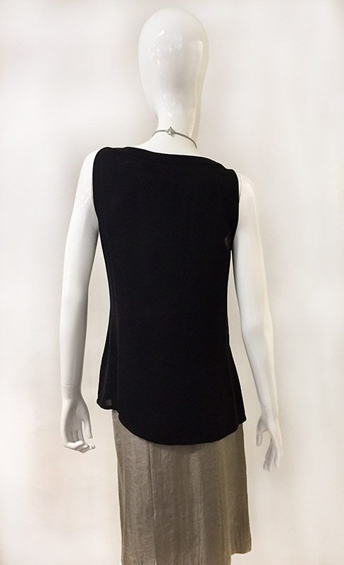 Tory Burch Black Sleeveless Ruffle Front Shirt Back View