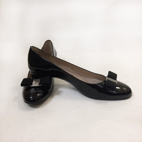 "Ferragamo Patent Leather ""Vara"" Pumps Preview View"
