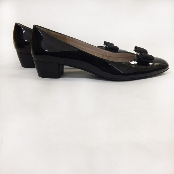 "Ferragamo Patent Leather ""Vara"" Pumps Side View 2"