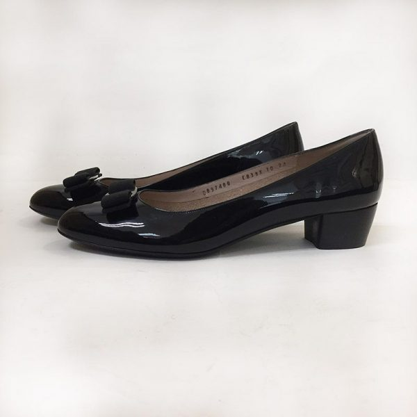 "Ferragamo Patent Leather ""Vara"" Pumps Side View"