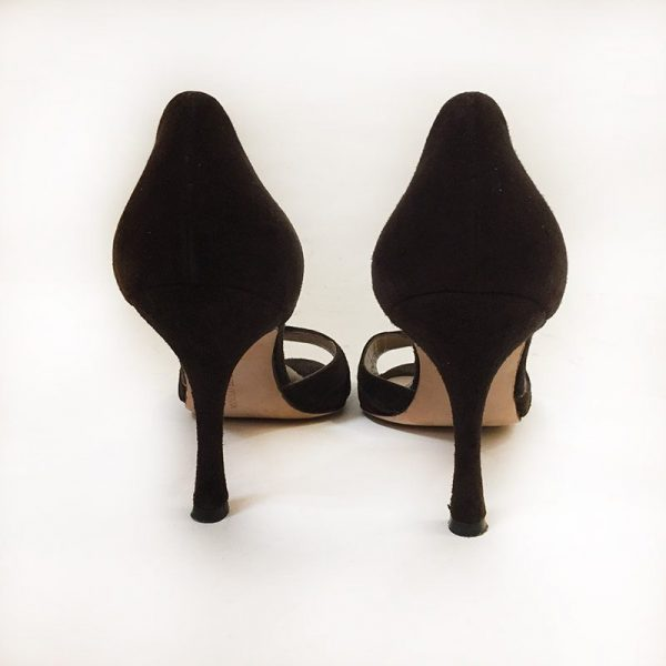 Manolo Blahnik Suede Peep-Toe D'Orsay Pumps Back View