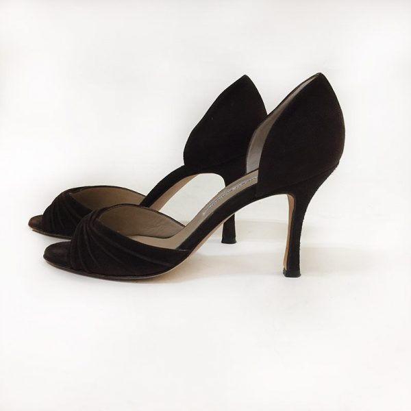 Manolo Blahnik Suede Peep-Toe D'Orsay Pumps Side View 2
