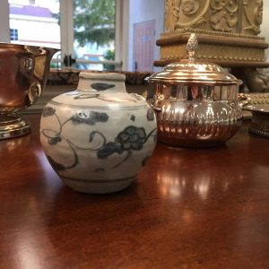 Grey and Blue Floral Pottery Vase Preview View