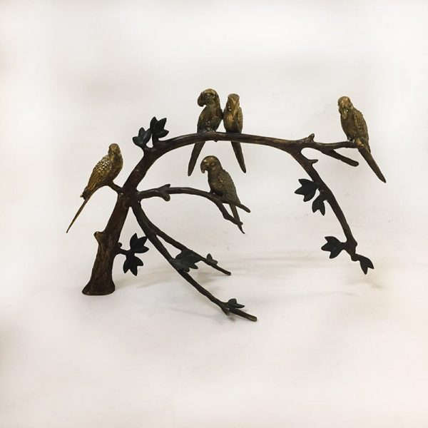 Brass Birds On A Branch Front View 2