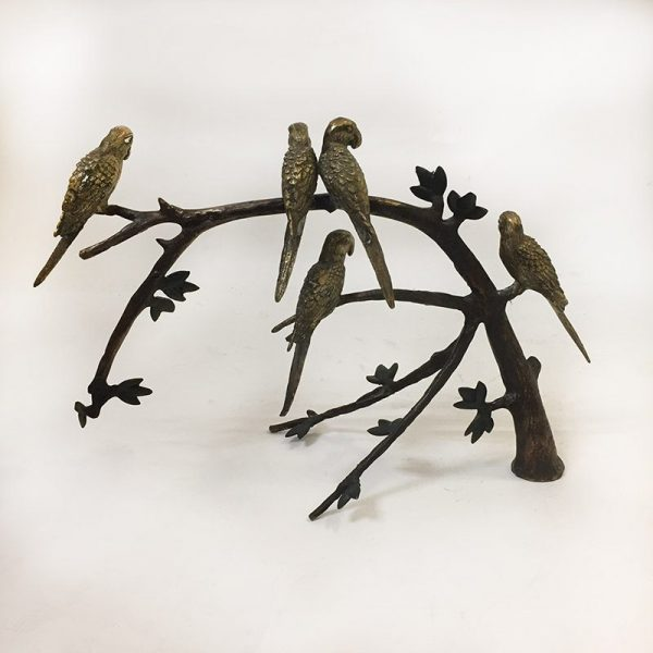 Brass Birds On A Branch Back View