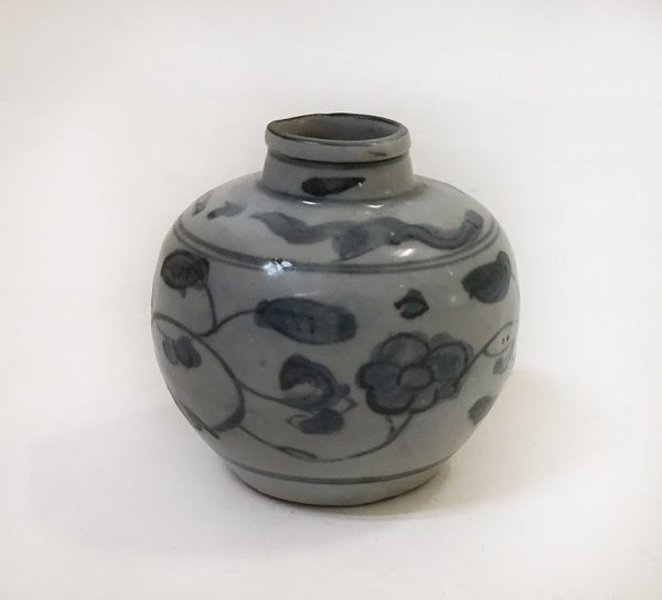 Grey and Blue Floral Pottery Vase Bottom View 1