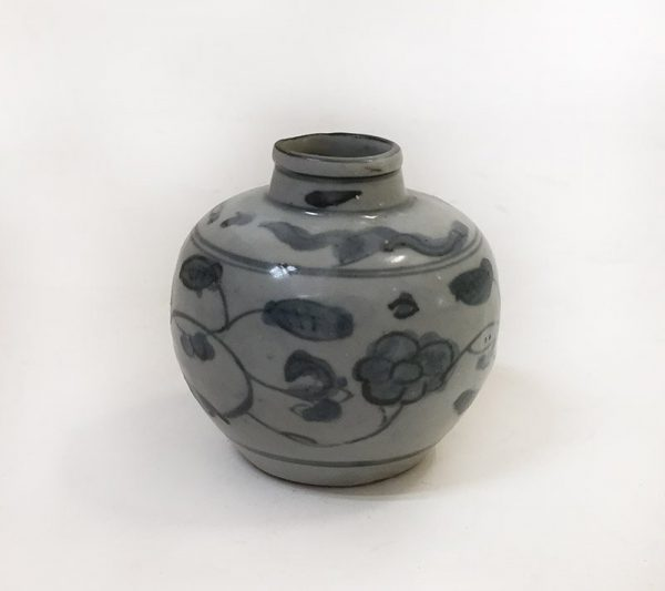 Grey and Blue Floral Pottery Vase View 2