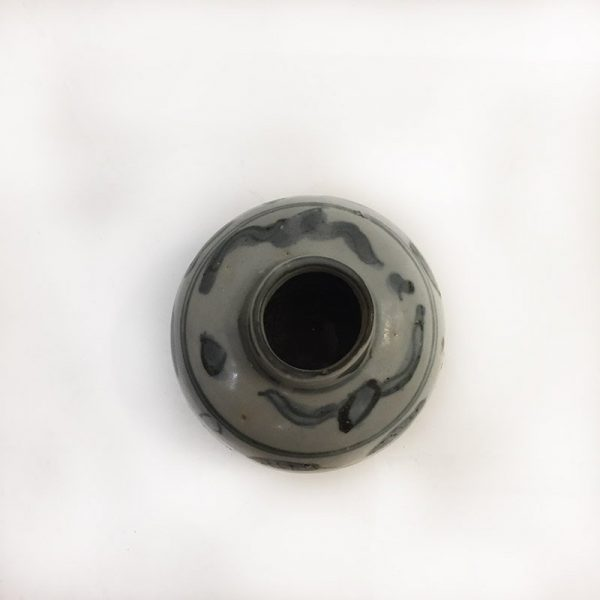 Grey and Blue Floral Pottery Vase Top View