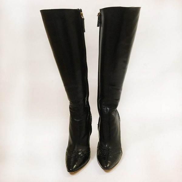 Escada Black Boots Front View