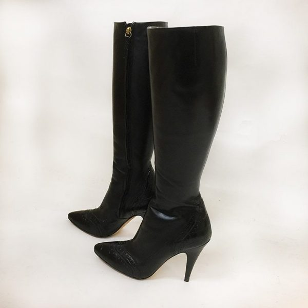 Escada Black Boots Side View 1