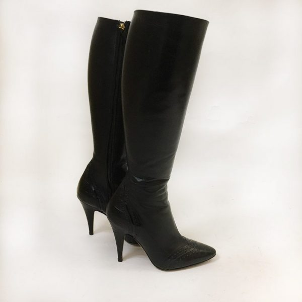 Escada Black Boots Side View 2