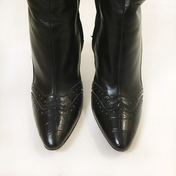 Escada Black Boots Close Up Front View