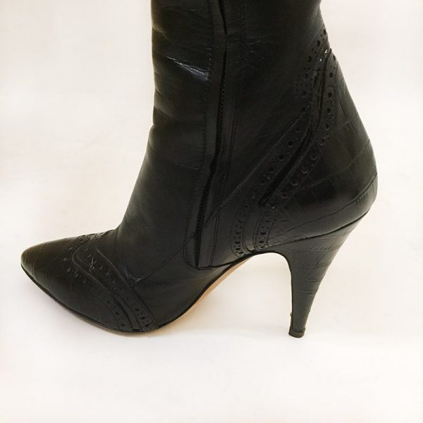Escada Black Boots Close Up Side View