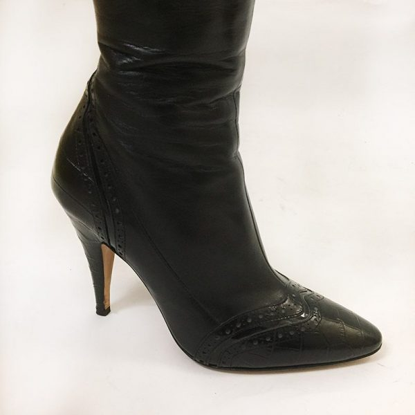 Escada Black Boots Close Up Side View 2