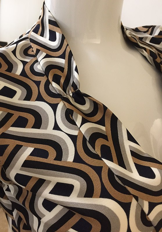 Trina Turk Geometric Print Dress Close Up Neck Line View