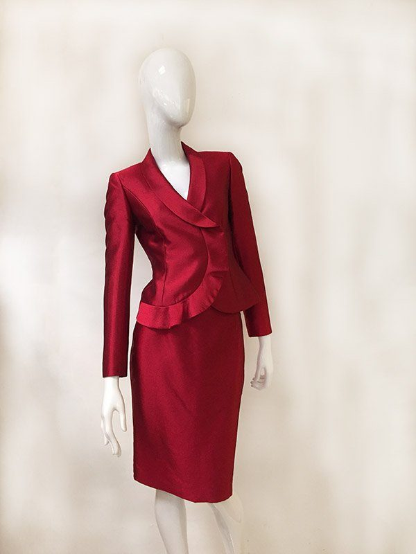 Tahari Ruffle Trim Skirt Suit Front View