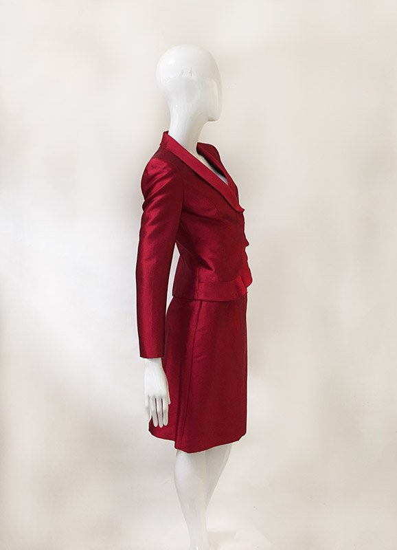 Tahari Ruffle Trim Skirt Suit Side View