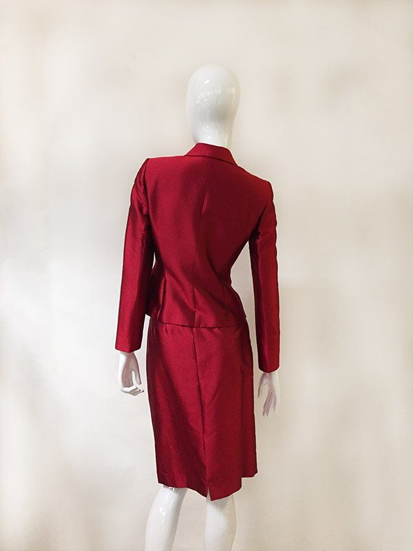 Tahari Ruffle Trim Skirt Suit Back View
