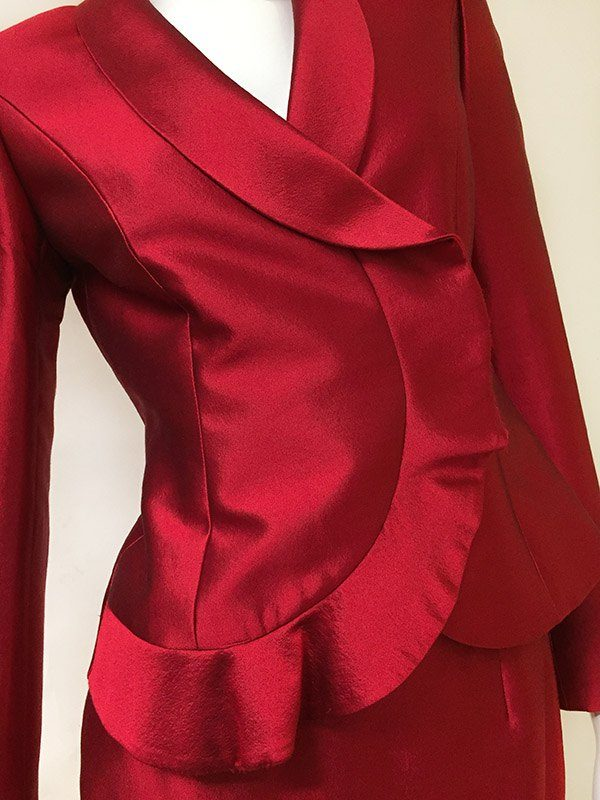 Tahari Ruffle Trim Skirt Suit Front Ruffle View