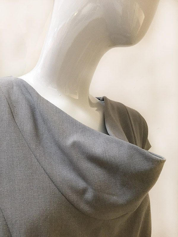 Calvin Klein Belted Dress Draped Neck Close Up View