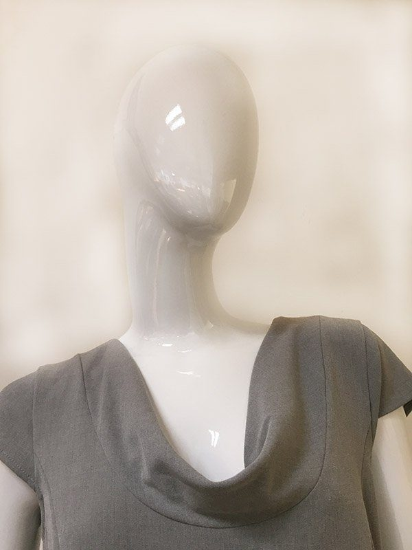 Calvin Klein Belted Dress Folded Draped Neckline Close Up View
