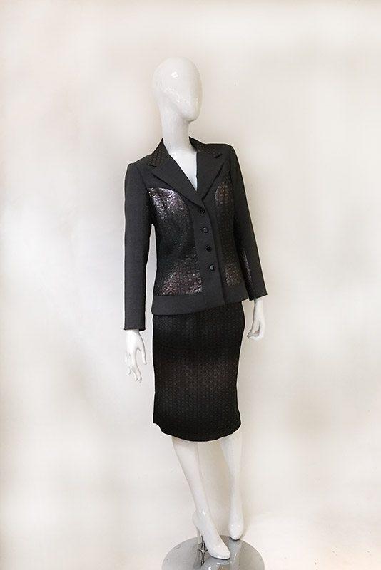 Teri Jon Ombre Metallic Skirt Suit Front View