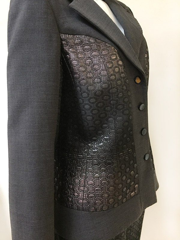 Teri Jon Ombre Metallic Skirt Suit Close Up Side View