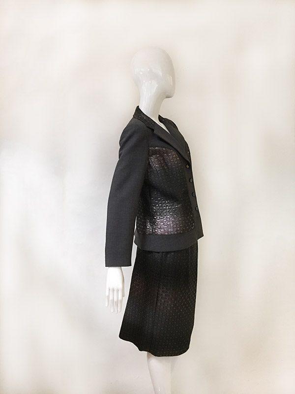 Teri Jon Ombre Metallic Skirt Suit Side View